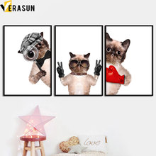 Cute Cat Animal Art Prints Nordic Poster Wall Canvas Painting Posters And Pictures Baby Girl Boy Room Home Decor