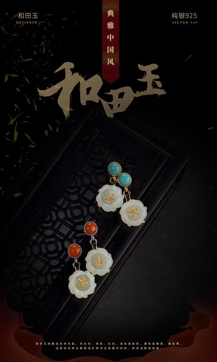 S925 en argent sterling pierre naturelle boucles d'oreilles simple fleur zircon boucles d'oreilles femme mode pop argent boucles d'oreilles