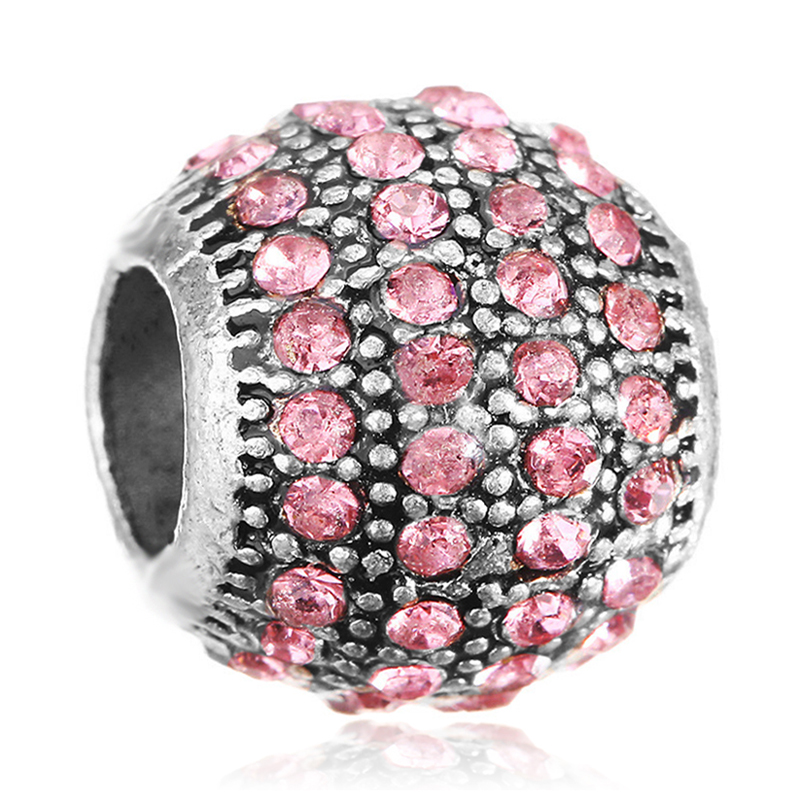 New Fashion Round shape Full with Pink Crystal Rhinestones DIY Bead Charms Fit For Pandora Charms Bracelets
