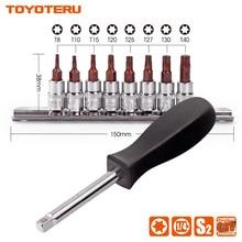 TOYOTERU 8PC 9PC Torx Bit CR V Socket 1 4 Drive Star Bit T8 T10 T15
