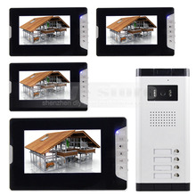 DIYSECUR Quality 7″ 4-Wired Apartment Video Door Phone Audio Visual Intercom Entry System IR Camera for 4 Families