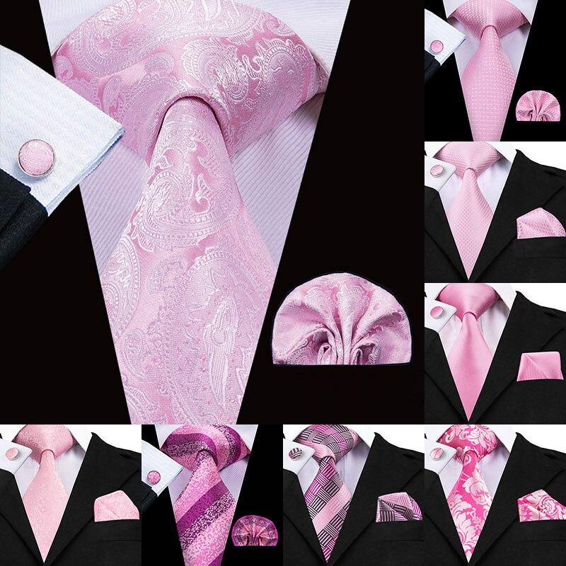 Hi-Tie 100% Silk Men Tie Pink Floral NeckTies For Men Luxury Silk Necktie Handkerchief Fashion Designer Party Wedding Mens Ties