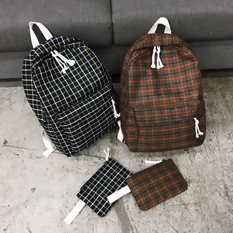 2 Pieces Japan style Plaid Style Women Backpack Pencil Case Student Girl School Bag Travel Shoulder Bag For Women 2019 Bagpack-in Backpacks from Luggage & Bags