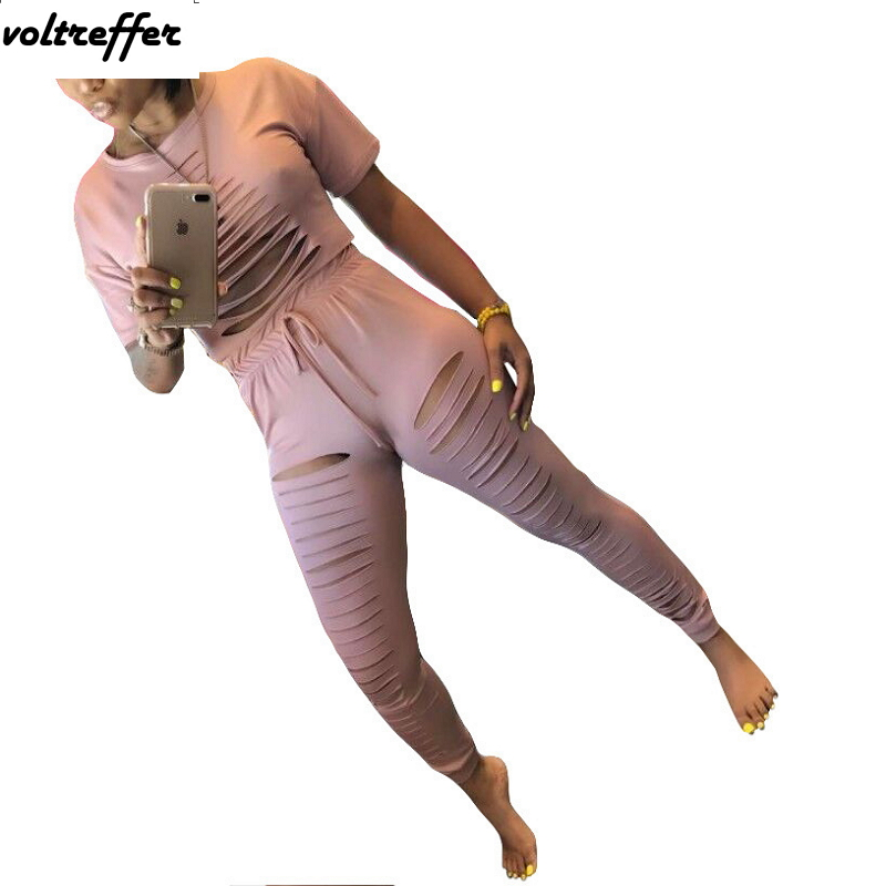 Women's Sexy Casual Outfits Cut Out Hole Two Piece Set Loose Pants Suits Solid Pink Overalls Sweatsuit Sets Tracksuit Summer