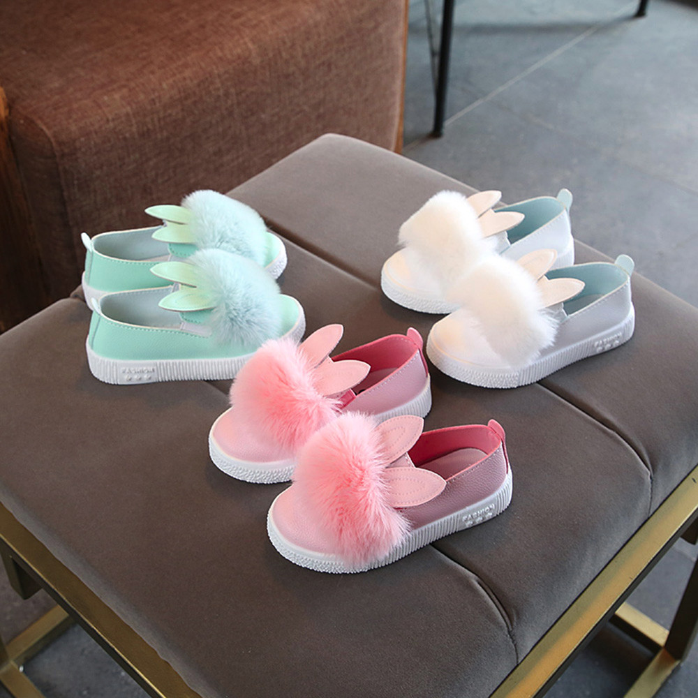 Baby Fur Shoes Girls Rabbit Ears Furry Princess Shoes Fur Sneaker Girls Cute Bunny Soft Anti-slip Single Shoes Chaussures Pour