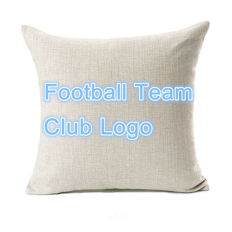 Customized Football Team Club Logo Cushion Cover Madrid Barcelona Fans Decorative Sofa Love Chair Car Throw Pillows Cover