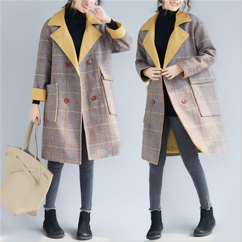 Plaid Khaki Taille Femelle D'hiver Femmes Automne 2018 Manteau Sauvage De Et Laine Grande Kaki Manteaux Épais Tempérament Cardigan pq6TwaxwYy