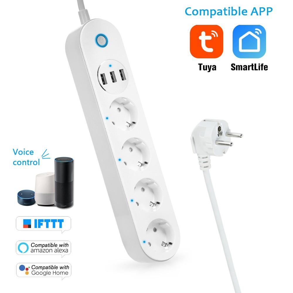 Nouvelle bande d'alimentation Wifi 4 prises de courant EU vie intelligente travail avec Google Home Alexa Echo Dot minuterie intelligente interrupteur de commande à distance