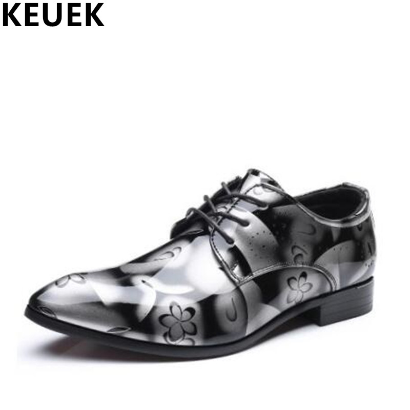 New Arrival Fashion Men Flats Lace-Up Pointed Toe Casual Business Dress shoes Patent Leather Male Wedding shoes 022 new arrival men s oxford shoes italian design embossed leather pointed toe stone pattern decoration business men dress shoes