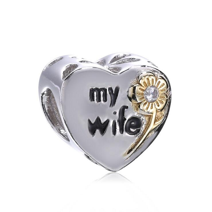 Authentic 925 Sterling Silver charms Beads My wife love heart berloque Fits Pandora Style Bracelets Necklaces DIY Jewelry making
