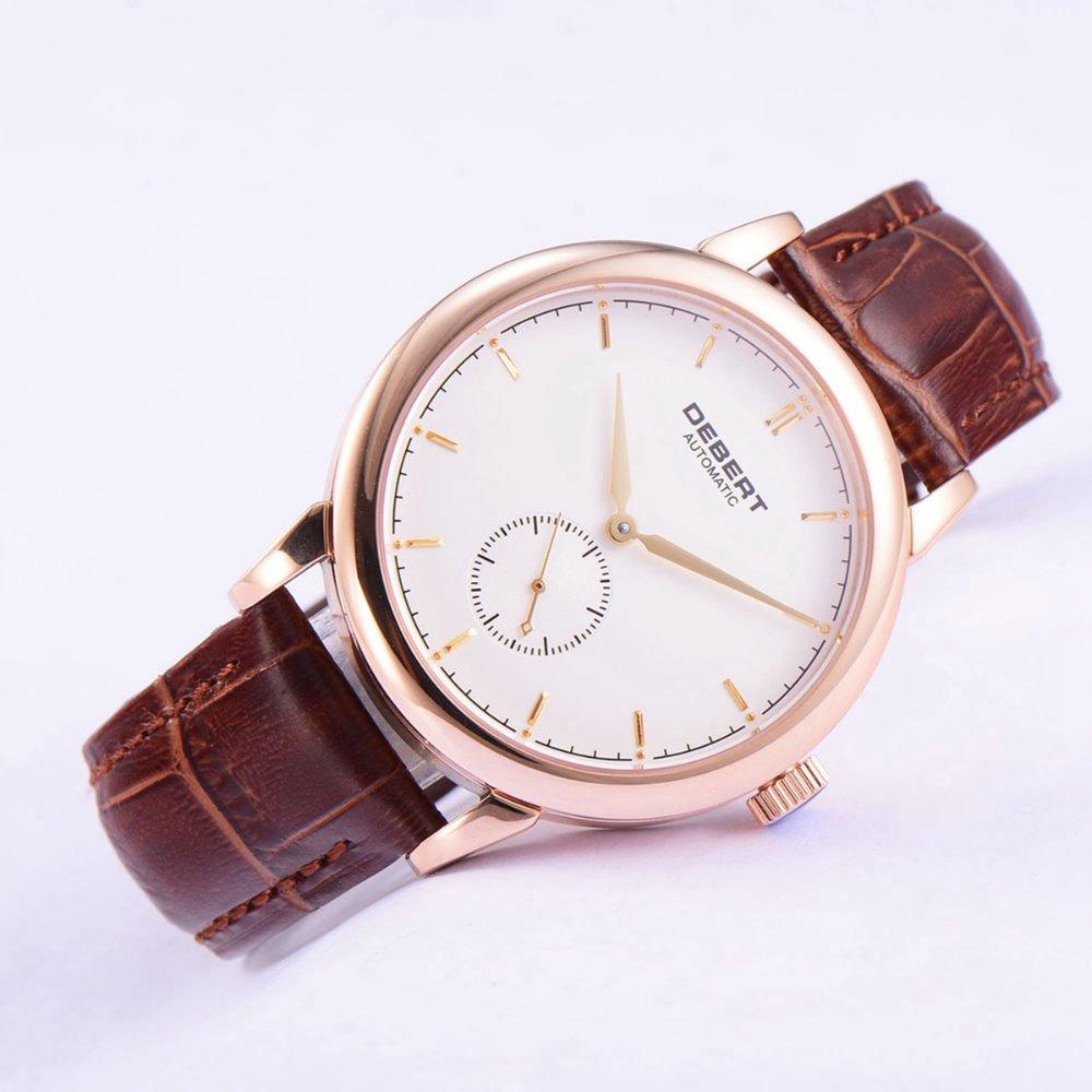 лучшая цена 40mm Debert white dial rose gold case leather strap Automatic mens Watch