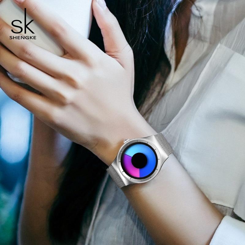 Shengke Luxury Watches Women Fashion Stainless Steel Wrist Watch Ladies Clock Reloj Mujer 2019 SK Creative Women Quartz Watch