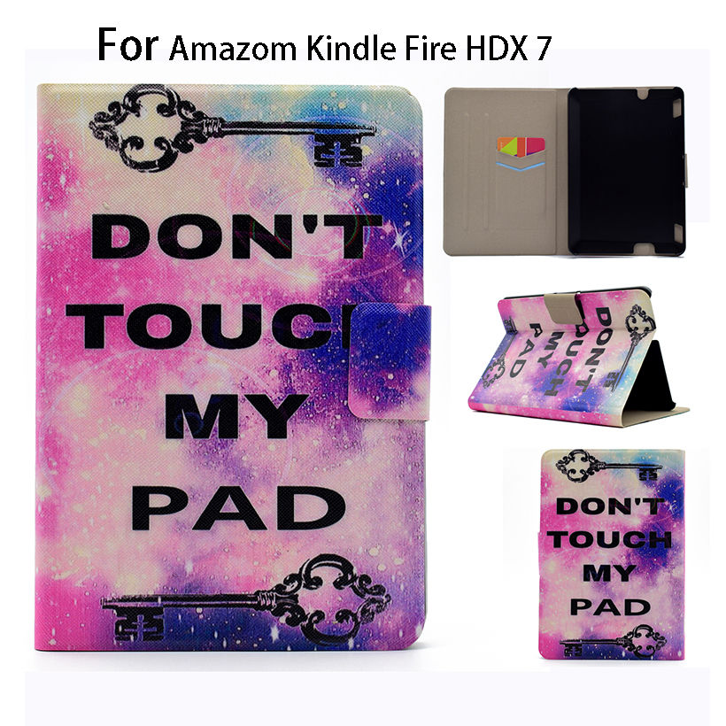 Ultra Slim Print PU Leather Case For Amazon Kindle Fire HDX 7 HDX7 7inch Smart Case Cover Sleep Wake Flip Tablet Shell Funda ultra slim protective pu flip open smart case for amazon kindle paper white brown