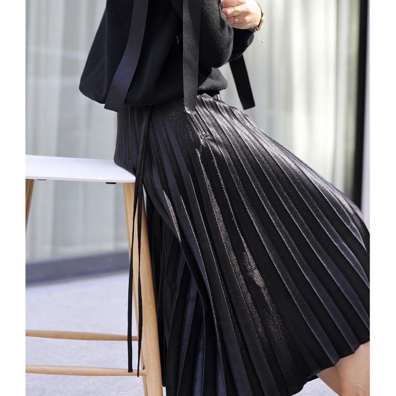 Amii Women Minimalist Skirt 2018 Autumn Chic Pleated Elegant High Quality Original Design Female Skirts