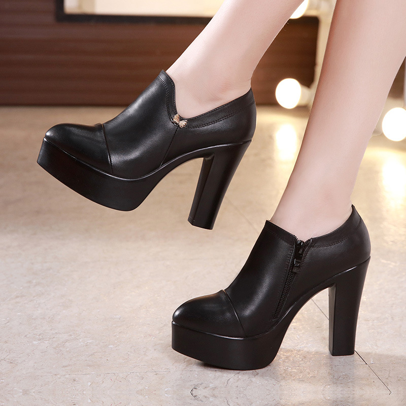 Deep Mouth Block Heels Pumps Women Platform Shoes 2019 Pointed Toe Split Leather Shoes Woman High Heel Office Shoe Black 42 43