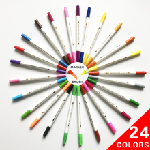 24 Colors Water Color Based Dual Tip Brush and Felt Art Mark Pen Set With Paper Box For Drawing Sketching