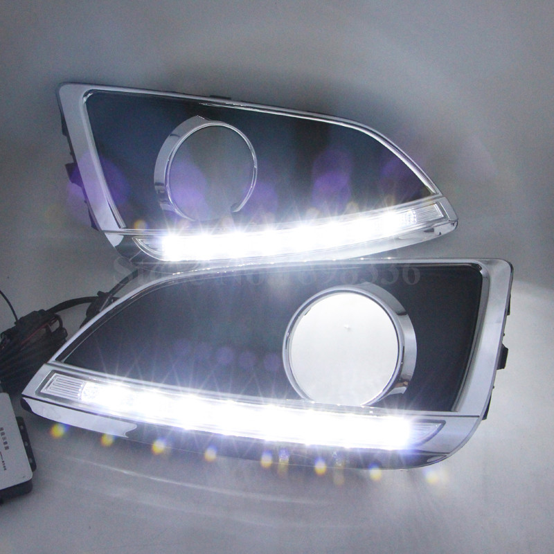 1 Pair Car styling High quality Super White light 12V CAR DRL Daytime running led light Fog head Lamp cover For HYUNDAI IX35 high quality led round daytime driving running light drl for toyota sienna 2011 car fog lamp headlight super white