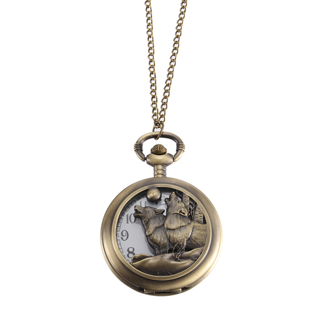 Vintage Pocket Watch Bronze Color Quartz Watch Cool Chain Hollow Wolf Cover Watches LL@17
