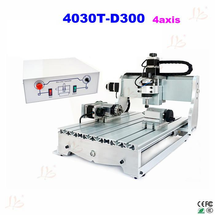 DIY mini cnc 4030T-D300 4 aixs engraving machine cnc cutting machine,special design for wood metal aluminum cnc 5axis a aixs rotary axis t chuck type for cnc router cnc milling machine best quality