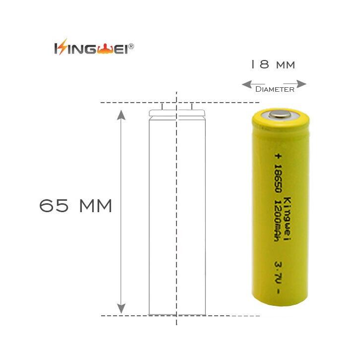 ᗐ2 pcs kingwei Haute Capacité 1200 mah 3 7 V 18650 Li-ion