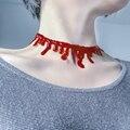 Horror de Halloween Red Choker Collar de Goteo de Sangre Frankenstein Deathrock Del Punk Rock Del Vestido de Lujo Gargantilla Collar