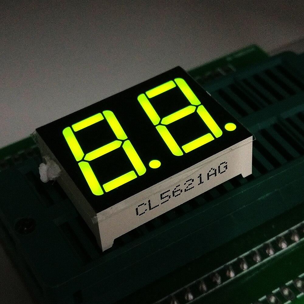 10PCS New  2 Bit 0.56  Inch Digital Tube LED Display Yellow Green Light 7 Segment Common Cathode/Anode