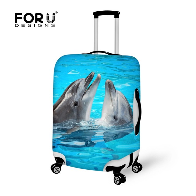 FORUDESIGNS Dolphin Printing Luggage Cover for 18-28inch Luggage Protectors Simple Design Elastic Suitcase Protective for Duffle