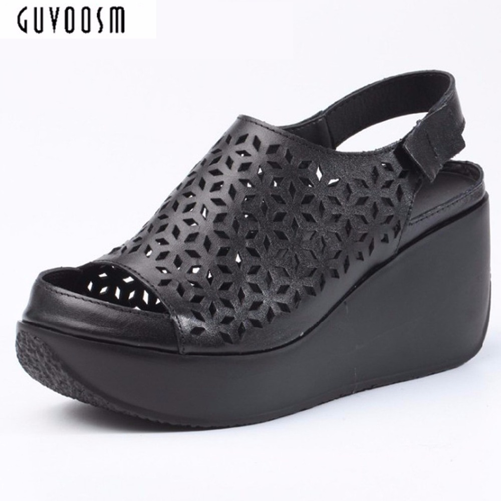 Women Natural Leather Hook & Loop Sandals Summer Black Solid Shoes Woman Wedges High Quality Zapatos Mujer Medium Heel Platform 2017 summer shoes woman platform sandals women soft leather casual open toe gladiator wedges women shoes zapatos mujer