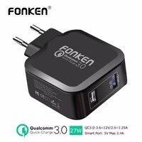 FONKEN Carregador Dual USB Carga Rápida 3.0 Carregador de Telefone Rápido QC3.0 QC2.0 3.6 V ~ 12 V 27 W 2.4A USB Carregador de Parede para o Telefone adaptador