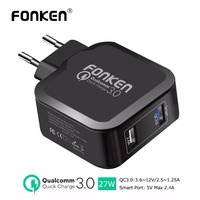 FONKEN Dual USB Charger Quick Charge 3.0 Fast Phone Charger QC3.0 QC2.0 3.6V~12V 27W 2.4A Wall Charger for Phone USB Adapter