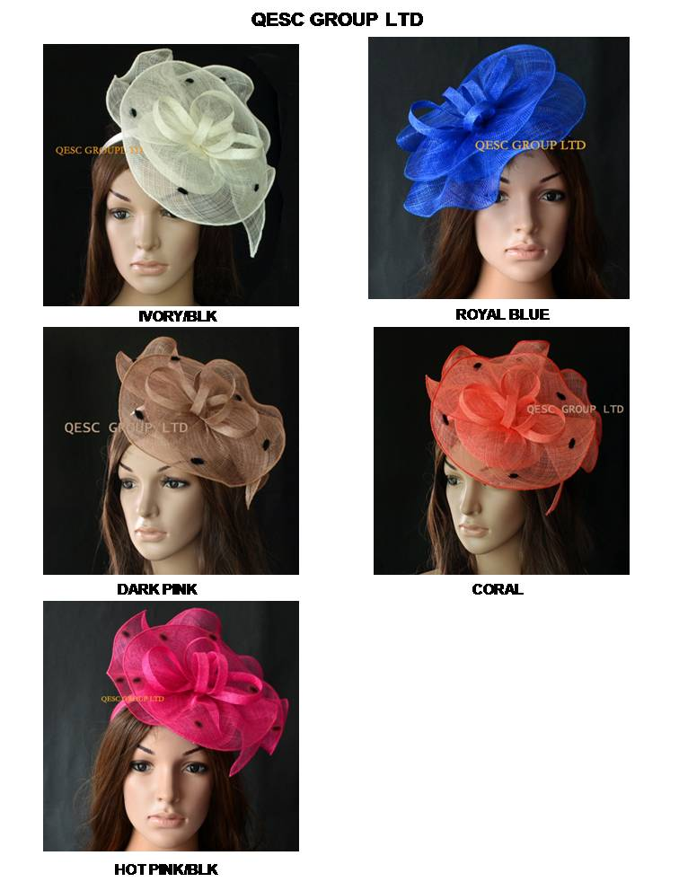 New arrival Sinamay Fascinator hat hair accessory for Ascot races wedding kentucky derby church