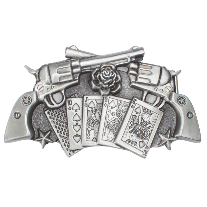 Poker And Two Gun Pattern Belt Buckle