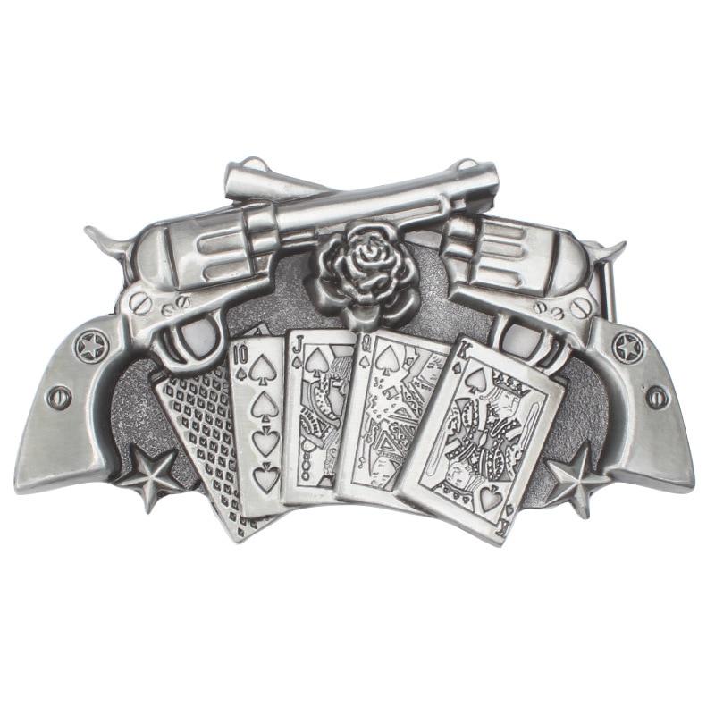 Poker And Two Gun Pattern Belt Buckle