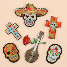 The Head Flower And Music Badge Repair Patch Embroidered Iron On Patches For Clothing Close Shoes Bags Badges Embroidery DIY