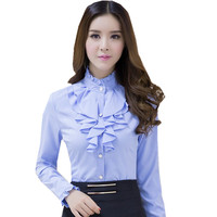 SEYAM Autumn Full Sleeve Blouses Shirt Women Stand Collar Ruffle Formal Office Blue Shirt Blusa Mujer