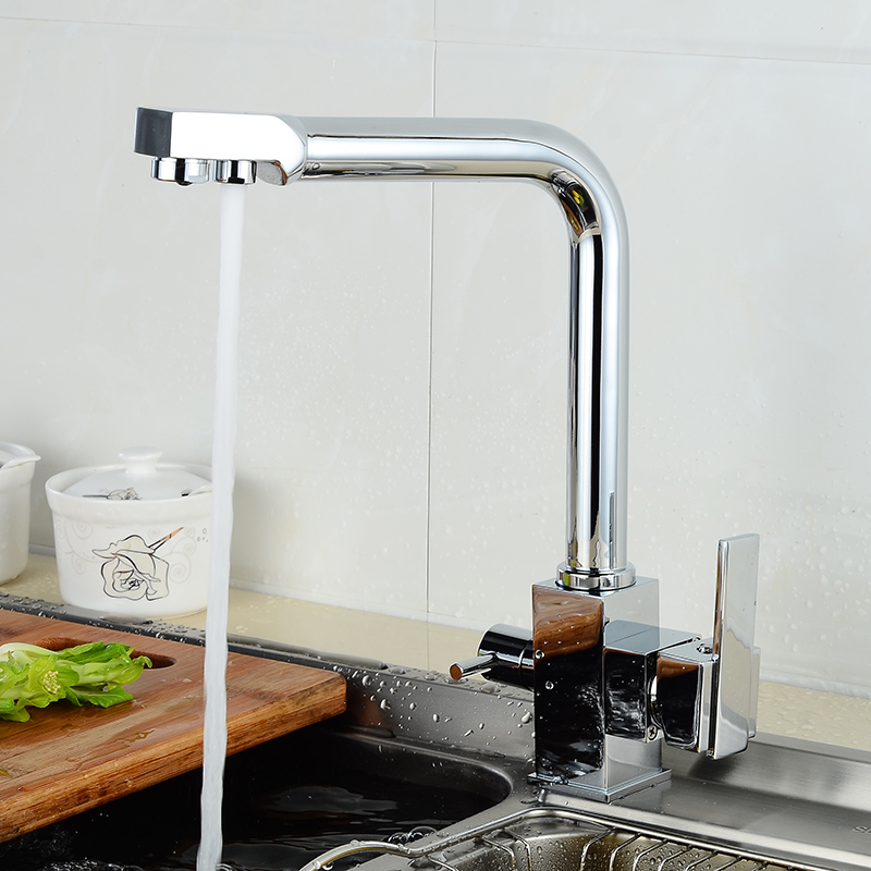 Modern Chrome Finish Kitchen Basin Faucet High Arch 2 Outlet Dual Handle Square Faucet Hot and Cold Mixer Sink Taps HJ-0187L micoe hot and cold water basin faucet mixer single handle single hole modern style chrome tap square multi function m hc203