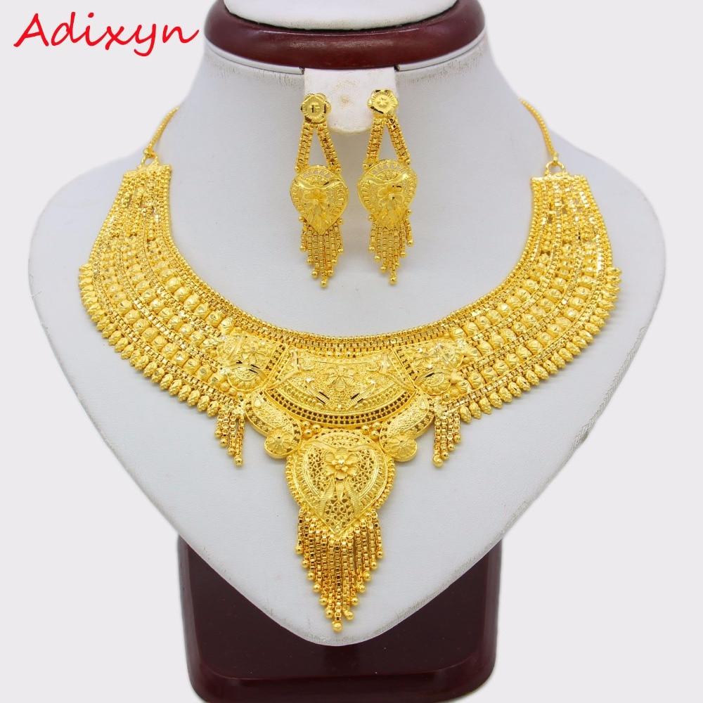 Adixyn or couleur collier boucles d'oreilles ensemble bijoux pour femmes filles, arabe/éthiopien/africain/dubaï bijoux de mariée N12192