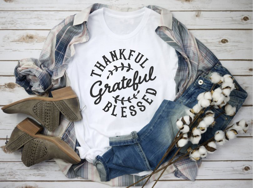 Thankful Blessed Thanksgiving T Shirt Womens Funny Thanksgiving Short Sleeve Fall Graphic Tee Tops
