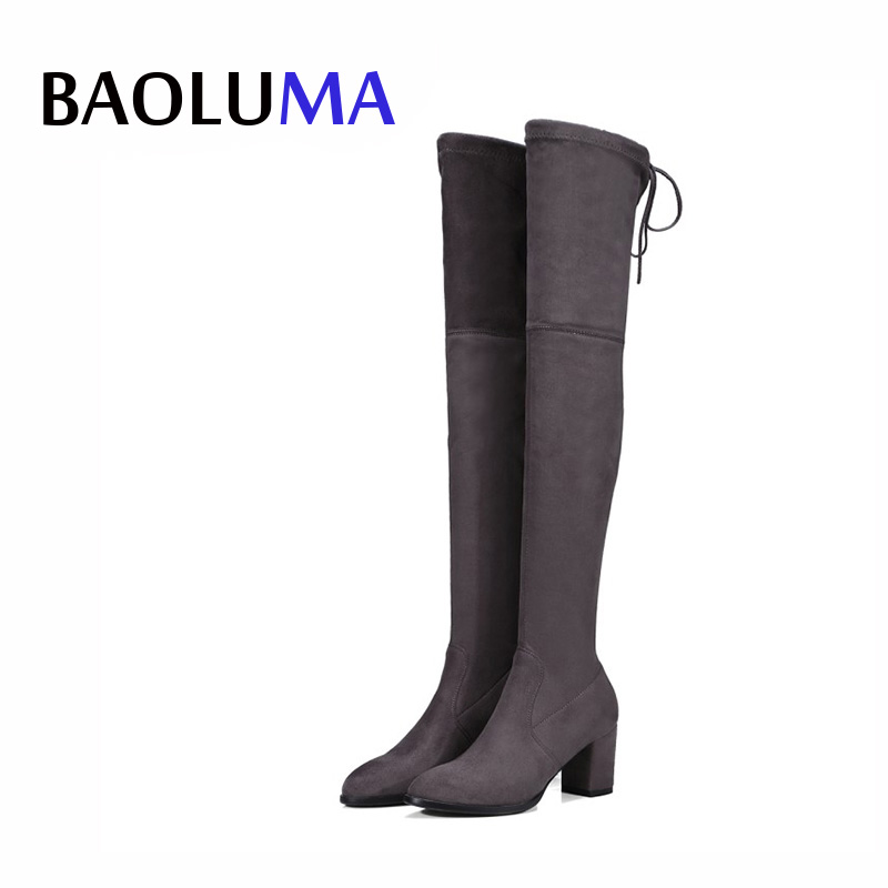 Faux Suede Slim Boots Sexy Over The Knee High Women Snow Boots Women Fashion Winter Thigh High Boots Shoes Woman Platform Boots ryvba woman knee high snow boots fashion thick plush warm thigh high boots winter boots for women shoes womens female sexy flats
