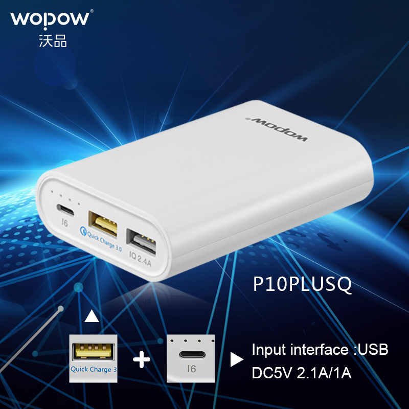 imágenes para P10 PLUS Q 10000 mAh WOPOW banco Móvil Cargador Rápido doble Salida USB Portátil Batería Externa Con Luz LED indicador