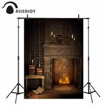 Allenjoy fotografia pano de fundo natal noite vintage tijolo lareira livro fundo photo studio photobooth design original