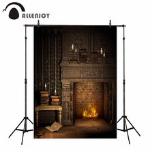 Allenjoy photography backdrop Christmas night vintage brick fireplace book background photo studio photobooth original design