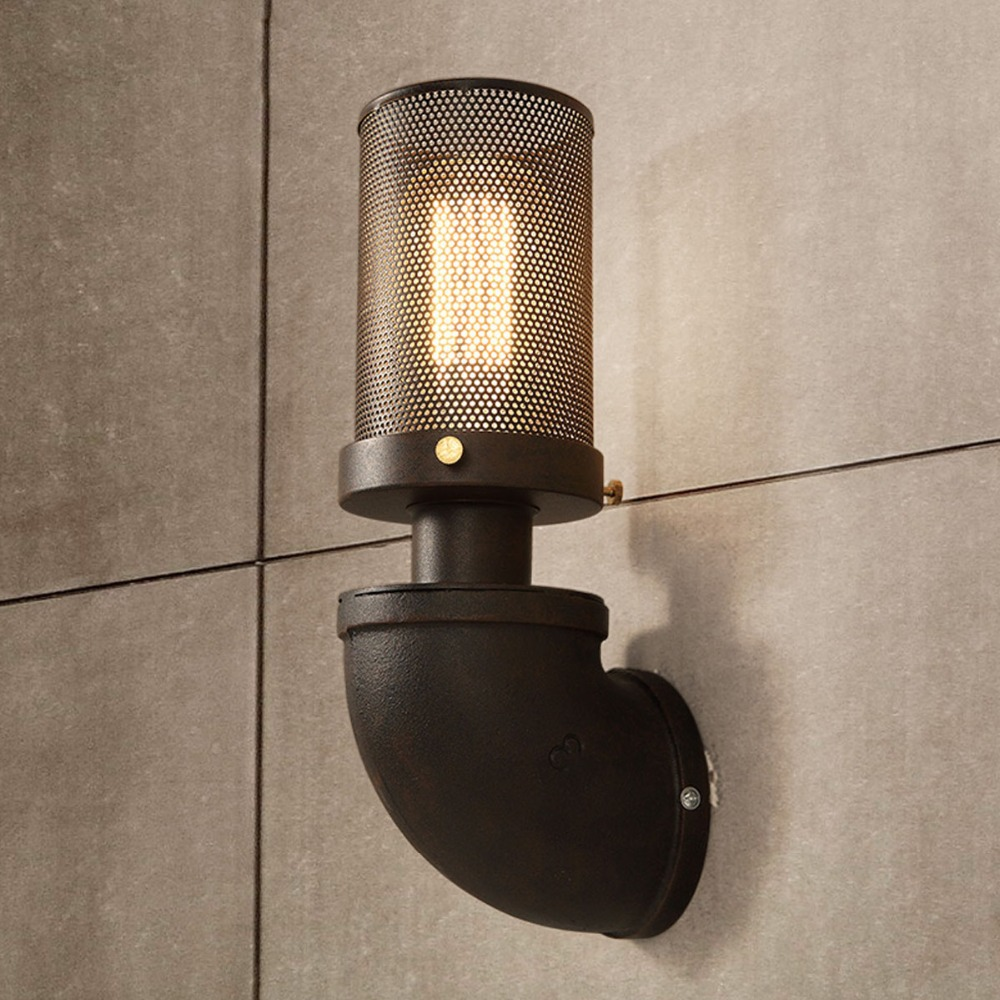 Industrial outdoor lamp - Nordic Industrial Country Iron Art Wall Light Rh Loft Antique Color Wall Sconce E27 Edison Lighting