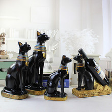European Egypt Cat Creative Modern Cat Arts Crafts Home Furnishing Livingroom TV Cabinet Decoration Wine Racks Animal Statues(China)
