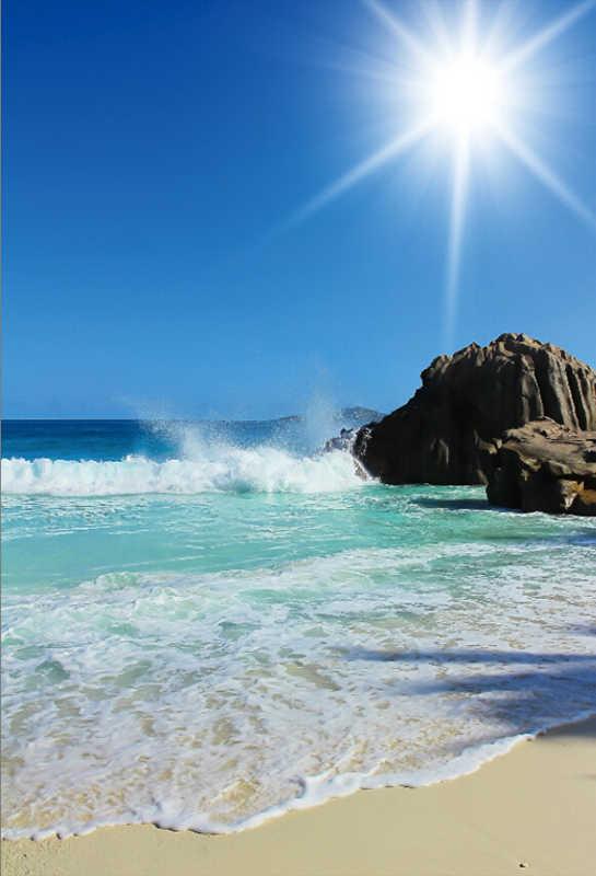 Laeacco Tropical Sea Beach Waves Rock Reef Blue Sky Shiny Sun Natural Scenic Photo Backgrounds Photography Backdrop Photo Studio