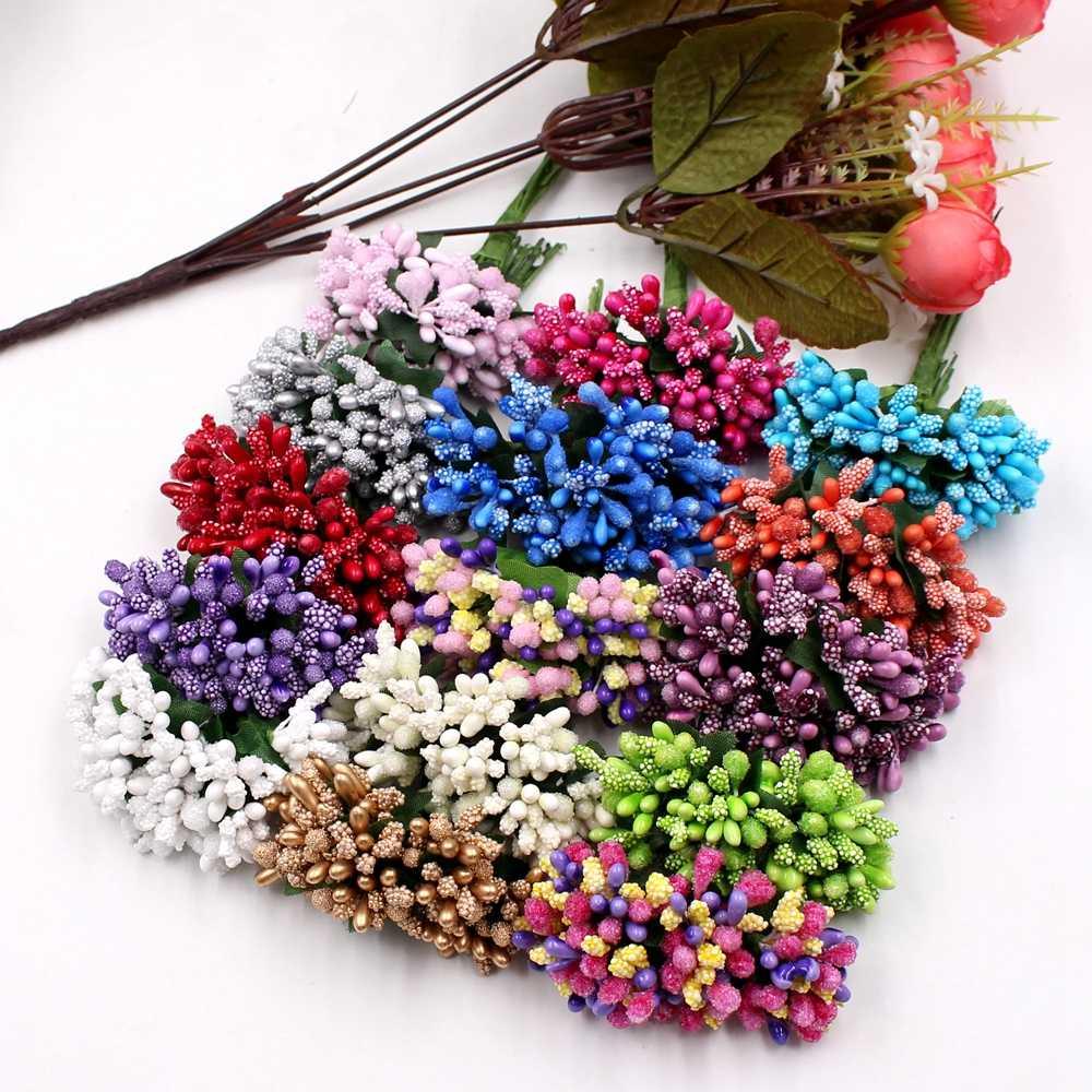 12 шт/лот тутового вечерние искусственный цветок проволока стебель/Свадьба тычинки и листья DIY ВЕНОК Свадебная коробка искусственный цветок для декорирования
