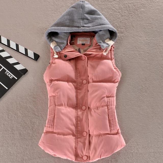 Colarinho de lã com capuz para baixo do colete de algodão das mulheres Frete grátis Hot alta qualidade Marca New feminino inverno quente Jacket & Outerwear