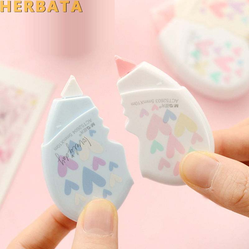 2 Pcs/pair Love Heart Correction Tape Material Escolar Kawaii Stationery Office School Supplies Papelaria 10M CL-1406