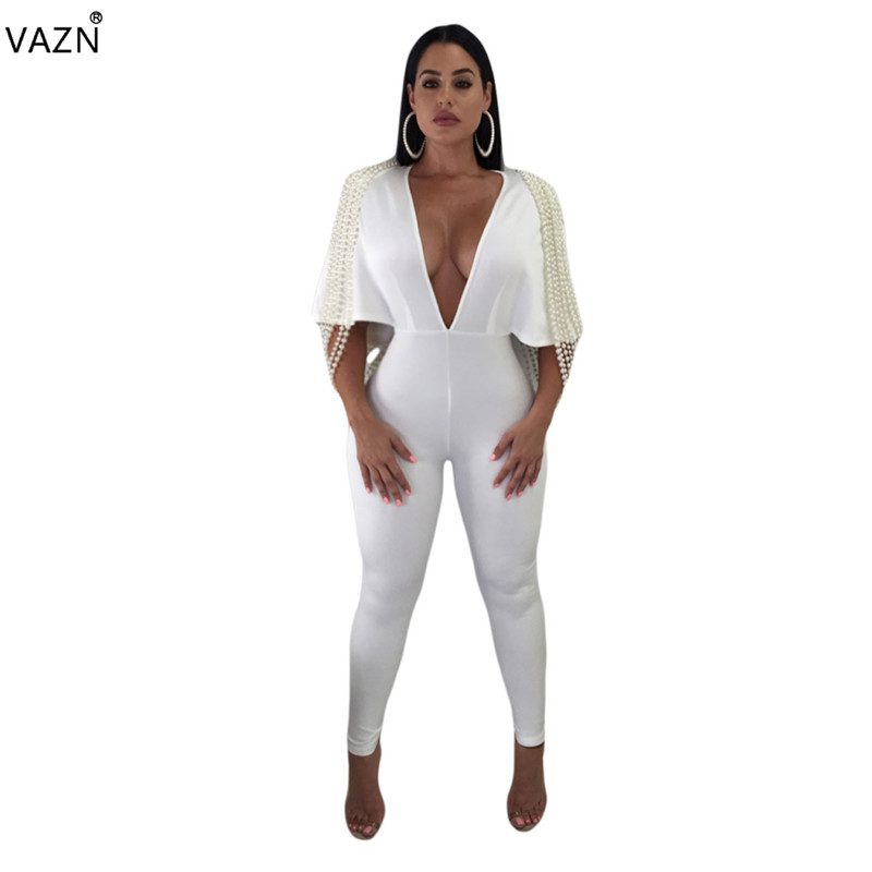 VAZN 2018 fashion hot 2-colors solid jumpsuits women skinny deep v-neck jumpsuits ladies half sleeve hollow out jumpsuits M729