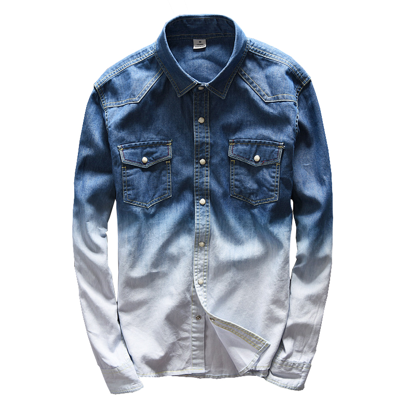 Fashion Blue Gradient Denim Shirts Men Fitness Clothing College Basic Long Sleeve Shirt Man Hot Contrast Color Camisa Masulina